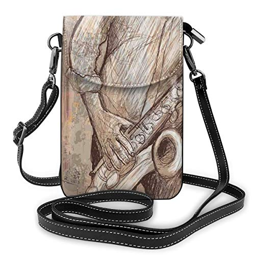 Women Mini Purse Crossbody of Cell Phone,Jazz Musician Playing The Saxophone Solo In The Street On Grunge Background Art Print