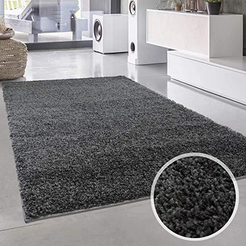 Carpet City ayshaggy Shaggy Teppich Hochflor Langflor Einfarbig Uni Dunkelgrau Weich Flauschig Wohnzimmer, Größe: 133 x 190 cm, 133 cm x 190 cm