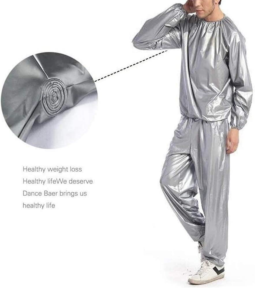 For Men And Women Full Body Weight Loss Fitness Sauna Suit For Sauna PVC Anti-tear Exercise Gym Color : Silver, Size : 3X-Large Denise Lamb Sauna Suit