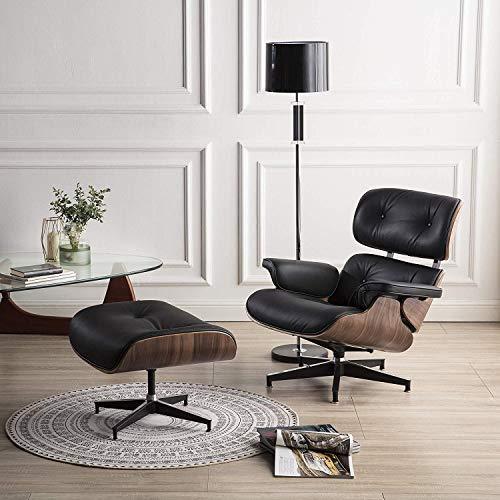 Mid Century Loungesessel und Ottomane, modernes Design, hochwertiges Leder, Palisanderholz, robuste Basistütze für Wohnzimmer, Arbeitszimmer, Lounge, Büro