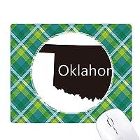 オクラホマアメリカ 米国のマップのシルエット 緑の格子のピクセルゴムのマウスパッド