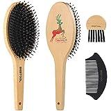 Cepillo de pelo de cerdas de jabalí para todos los cabellos mojados o secos, uno de los mejores cepillos de pelo para mujeres, hombres o niños, pelo largo y grueso