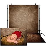 Allenjoy 5x7ft Soft Fabric Brown Wall with Wooden Floor Photography Backdrop Newborn Baby Photoshoot Abstract Portraits Photo Background Photographer Props