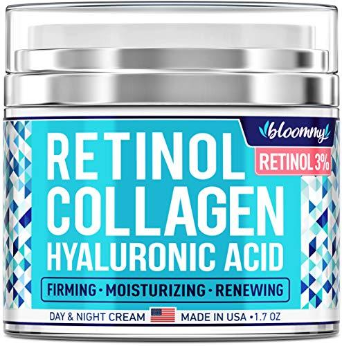 BLOOMMY Collagen & Retinol Cream - Made in USA - Collagen Anti Aging Cream for Face with Hyaluronic Acid - Day & Night Retinol Moisturizer - Anti Wrinkle Facial Cream - 1.7 oz