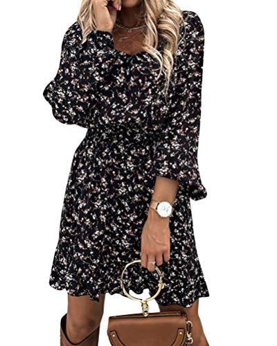 Onsoyours Damen Kleid Elegant Langarm Blumen Kleider Kurz Knielang Partykleid Casual für Herbst Frühling Tunika Kleid Boho Lang Maxi Kleid A Schwarz M