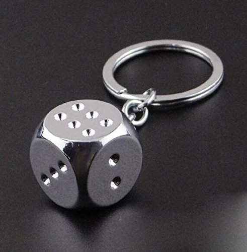 Flikool Metal Llavero Keyring Cadena de Clave Aleacion de Zinc Dados de Mahjong Colgante Keychain para Pantalones Billetera