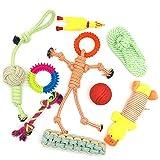 NA Lot de 9 cordes de jouet pour chiot chiot à mâcher en corde avec nœud en coton interactif
