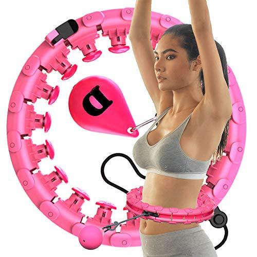 DEMISEL Hula Hoop Reifen mit Kugel Gewicht und Breite Einstellbar Nicht Fallend Fitnessreifen Massage-Noppen für Erwachsene und Kinder zum abnehmen Gewichtsreduktion Fitness,ROSA