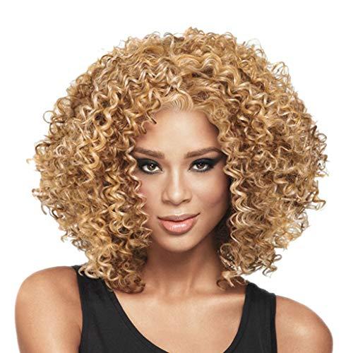 Vovotrade Perruque Femmes frisée bouclée complète de Cheveux de la Mode de Wave Hair Femmes Perruques Perruques Synthétique Blonde Perruque Afro-Américaine Synthétique Femmes Mode Perruque (Gold)