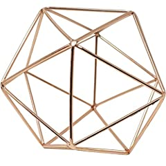 "TOP QUALITY - Made of solid quality brass metal with a chrome gold or rose gold color plating as a perfect ornamental centerpiece! OPTIMAL SIZE - This ornamental centerpiece measures approximately 6"" width x 6"" depth x 6"" height. It is a 17-sided geo..."