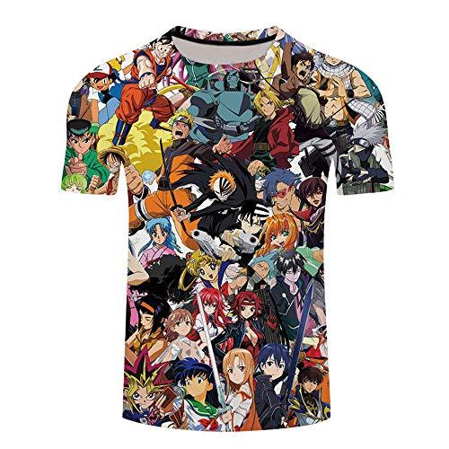 Japonesa Anime Mangas Cortas Camiseta,Animación Dibujos Animados Serie de Japón One Piece ImpreSión Digital 3D de Manga Corta Casual MaSculino-XT464_XL