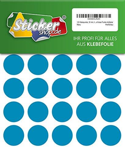 120 Klebepunkte, 30 mm, hellblau, aus PVC Folie, wetterfest, Markierungspunkte Kreise Punkte Aufkleber