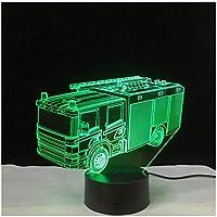 3Dイリュージョンナイトライト 消防車 スマートタッチ キッズ3Dナイトライトベッドサイドランプおもちゃライト7色変更コントロール男の子のための最高のクリスマスと誕生日プレゼント子供