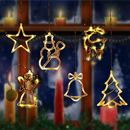 Sunshine smile LED Vorhang Licht, 6 PCS LED Fensterlicht Saugnapf,Lichtervorhang Fenster LED,Kabelbeleuchtung, Fensterlichter, Lichterkette, Lichtervorhang Lichter Weihnachtsbeleuchtung