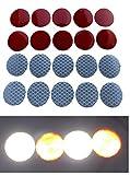 20x REFLEKTORSTICKER zum Aufkleben/Reflektor Aufkleber für Kinderwagen Fahrrad Anhänger KFZ Motorrad Helm Taschen/Set 10x Rot + 10x Silber 3cm Kreise