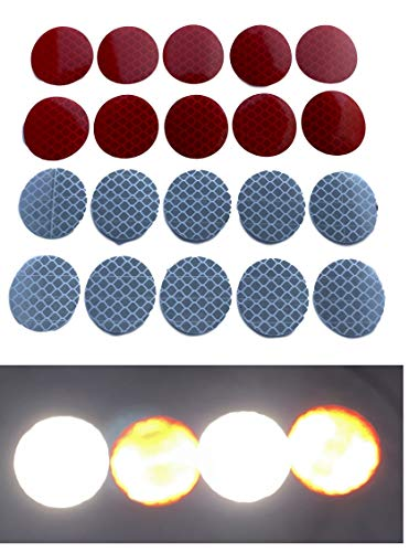 20x reflectorstickers om op te plakken/reflectorstickers voor kinderwagens fiets aanhanger motorfiets helm tas/set 10x rood + 10x zilver 3cm cirkels