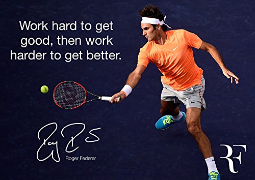 Motivationsposter # 6 mit Zitat von Roger Federer (in englischer Sprache), A3, Tennismotiv