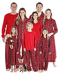 SleepytimePjs Holiday Family Matching Red Plaid Flannel Thermal Pajamas PJs  Sets for The Family c1c75528e