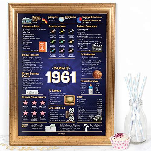 Das Original Damals 1961 Poster Deutschland (40x59.4cm Ungerahmt) Elegante Posterröhre 60. Geburtstag Geschenk 60-Jähriges Jubiläum Deko für Frau Mann Oma Opa Mama Papa (Damals 1961 – 60 Jahre)