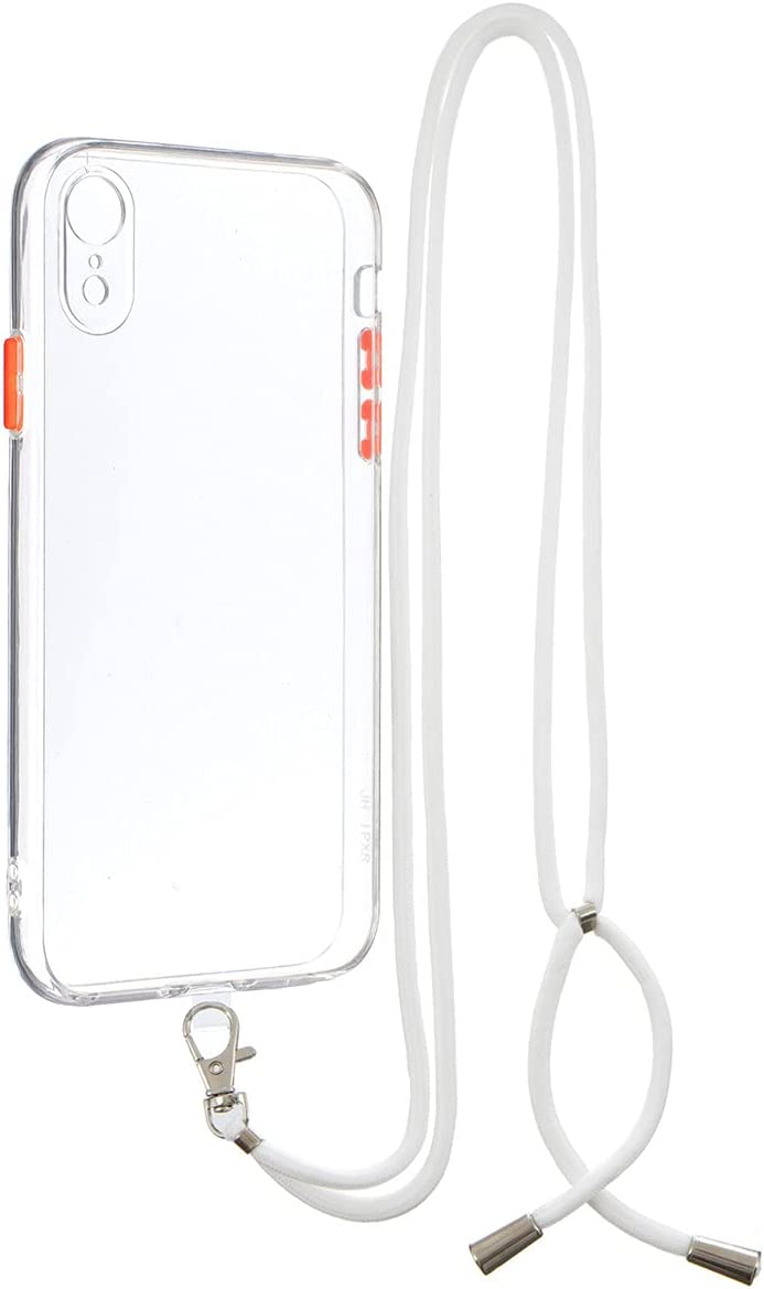 iPhone XR Case, Gift_Source Crossbody Lanyard Phone Case Slim Thin Shockproof Soft TPU Bumper Protection & Crystal Clear Hard PC Back Cover with Detachable Neck Strap for iPhone XR (6.1