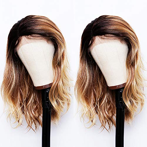ANDRIA Short Wavy Lace Front Wigs Short Bob Side Part Dirty Blonde Mix Browm Ombre Wig With Baby Hair Glueless Natural Wave Synthetic Heat Resistant Fiber Hair For Black Women 14 Inch BRAZILIAN-BLN