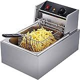 YUNZHI Freidora Comercial, Freidora Eléctrica de Un Cilindro de Acero Inoxidable, Utilizado para Brochetas y Pollo Frito con Papas Fritas