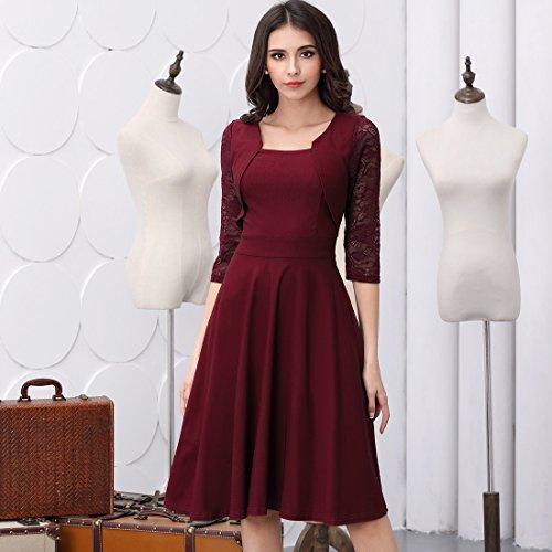 Miusol? Damen Abendkleid Elegant Cocktailkleid Vintage Kleider 3/4 Arm mit Spitzen Knielang Party Kleid Weinrot Gr.S - 4