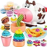 Suszian 2 en 1 Lindo Juego de Herramientas de plastilina de Vaca, máquina para Hacer Pasta, máquina para Hacer Helados con 8 Colores, plastilina no tóxica