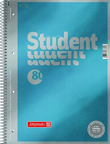 Brunnen 1067147 Notizblock/Collegeblock Dotted Premium Deckblatt , 5 Stück cyan-metallic