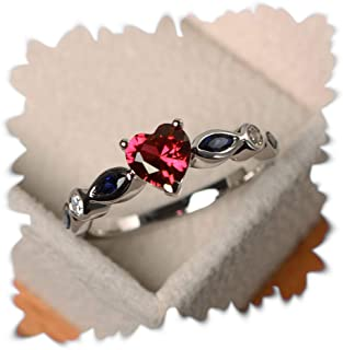 JESMING Tiny Heart Shape Topaz Ring, 925 Silver Plated Cubic Zirconia Heart Ring Topaz Birthstone Rings for Women Fit Size...