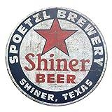 Shiner Beer Shiner Texas Vintage Style Round Tin Sign Metal