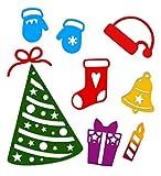 Crafting Dies - Fustelle Natalizie Metalliche Thinlits Albero Fiocco Candela Natalizia Guanti Campana con Stella e Fustella Pacco Regalo Natale