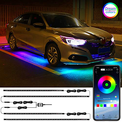 LEDCARE Car Underglow LED Lights, Dream Color Chasing Strip Lights with Wireless APP Control, Exterior Car Neon Accent Lights Kit with 16 Million Colors Sync to Music, DC12V (2×47inch+2×35inch)