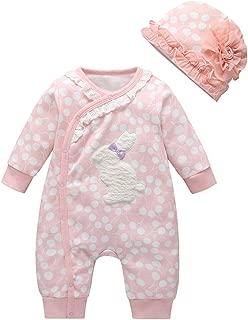 Miyanuby Newborn Baby Girls Long Sleeve Round Collar Lace Romper Bodysuit Clothes with Headband