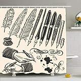 Conjunto de cortina de ducha con ganchos Rima Ilustraciones aisladas Aprender plumas Plumas Diseño Suministros Set Escritor a mano Dibujado Objetos educativos Tela de poliéster impermeable Baño Decora