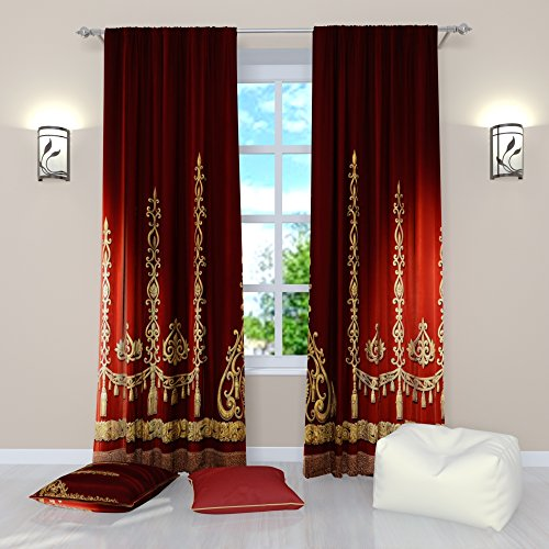 Factory4me Red Curtains Collection Stage Curtains. Window Curtain Set of 2 Panels Each W52 x L96 Total W104 x L96 inches Drapes for Living Room Bedroom Kitchen