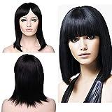 Parrucche Donna Capelli Veri Umani BOB Nera Wig Senza Lace Parrucca Naturale 100% Remy Human Hair Wigs Lisci 145g Lunghi 35cm - Nero Naturale