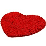 Alfombra de baño en forma de corazón, suave alfombra de cocina, alfombra de puerta de camino, alfombra antideslizante, absorbente, felpudo de baño, alfombra de ducha, alfombra peluda, roja, 70 x 80 cm