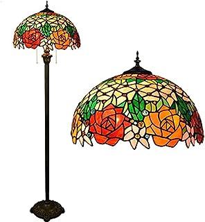 Lampadaires, Lampe de plancher de lecture TIFFANY TIFFANY ROSE GLASSHADE TÉLÉBLABLAGE PLANCHER LAMPLAIR POUR CHAMBRE Salo...