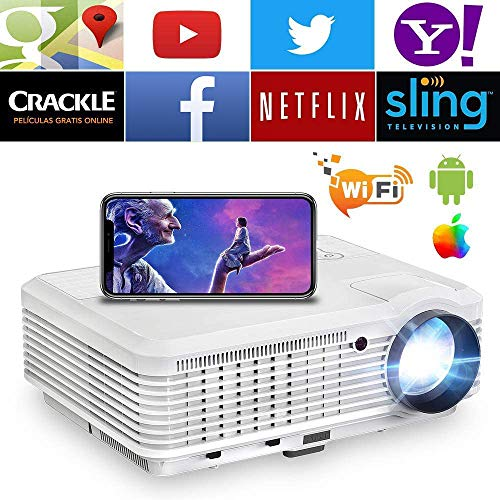 Wireless WiFi HDMI Android Projector 4600 Lumen LCD LED Smart Multimedia Video Projector Home Theater Support HD 1080P Airplay HDMI USB RCA VGA AV for Smartphone DVD Game Console Laptop Outdoor Movie