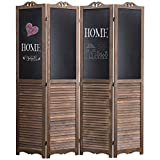 MyGift 4-Panel Rustic Dark Brown Wood Louvered Room Divider with Chalkboard Panels & Two-Way Folding Hinges