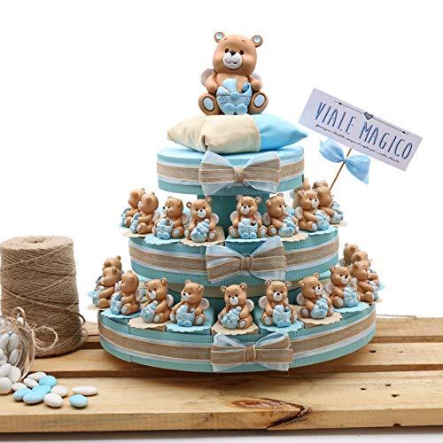 Viale Magico Bonbonniere-Schachteln in Tortenform für Taufe Erstkommunion Geburt, Schlüsselanhänger mit Bären-Motiv, für Junge Mädchen