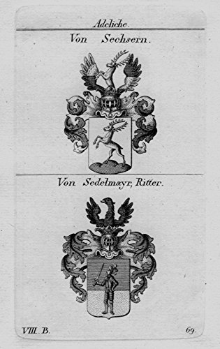 Sechsern Sedelmayr Wappen Adel coat of arms heraldry crest Kupferstich