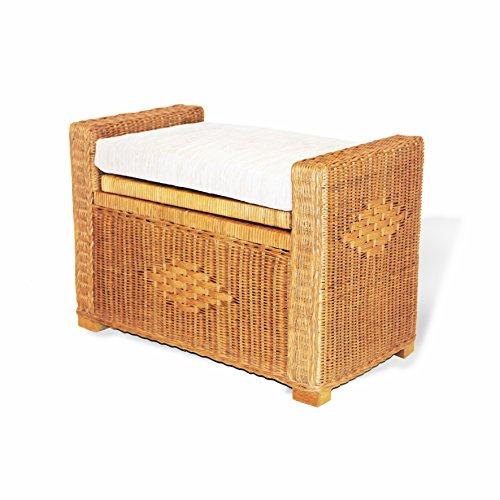 Bruno Handmade 32 Inch Rattan Wicker Chest Storage Trunk Organizer Ottoman W/Cushion Colonial (Light Brown)