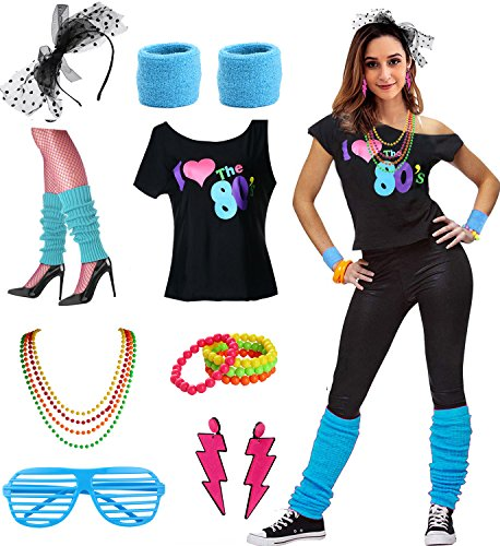 FUNDAISY Ich Liebe die 80er Jahre Disco 80er Jahre Kostümzubehör, Blue, XL/XXL
