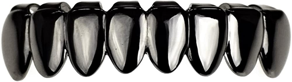 Black Grillz 8 Tooth Bottom Lower Row Eight Teeth Dark Slugs Hip Hop Mouth Grillz