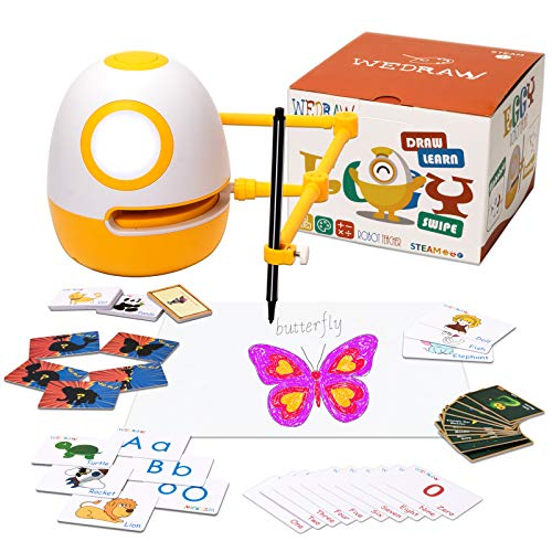 WEDRAW Robot Toy, Learning Robots for Kids 3-8, Educational Toys, (Spelling, Math, Counting, Draw &More) 56 Learning Games Cards, Interactive, Improve Creativity, Hand-on, Homeschool Robot Toys