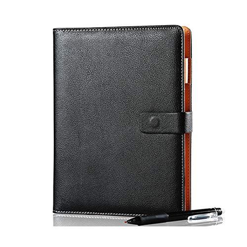 PPuujia Cuaderno de piel inteligente reutilizable borrable para microondas y ondas de nubes, bloc de notas forrado con bolígrafo (color negro, tamaño: A5, 15 x 21 cm, 110 páginas)