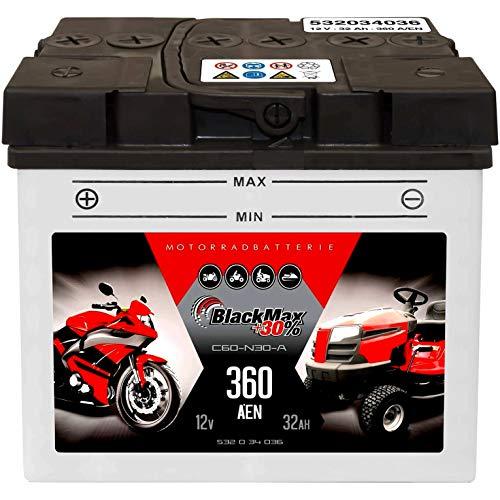 BlackMax Y60-N30-A Motorradbatterie 12V 32Ah Rasenmäher Batterie C60-N30-A 30Ah