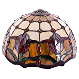 Tiffany Lamp Shade Replacement 12 Inch Tulip Flower Stained Glass Lampshade Only for Table Lamps Ceiling Fixture Pendant Light S030 WERFACTORY Office Bar Living Bedroom Office Desk Nightstand Bedside